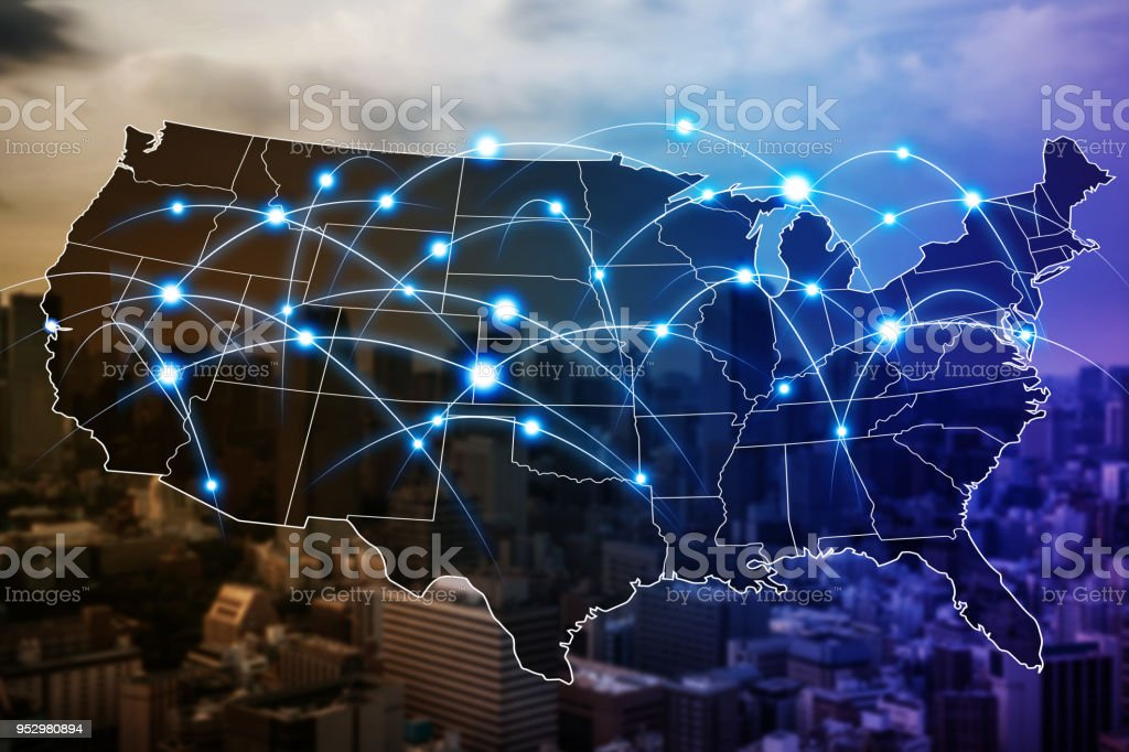 Communication network of United States of America. stock photo