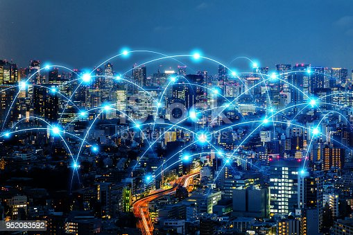 1013969318 istock photo Communication network of urban city. Smart city. Internet of Things. IoT. 952063592