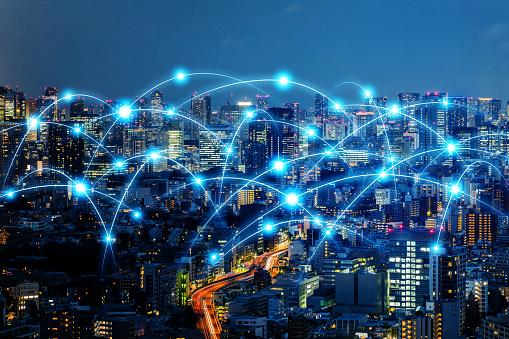 1013969318 istock photo Communication network of urban city. Smart city. Internet of Things. IoT. 952063592