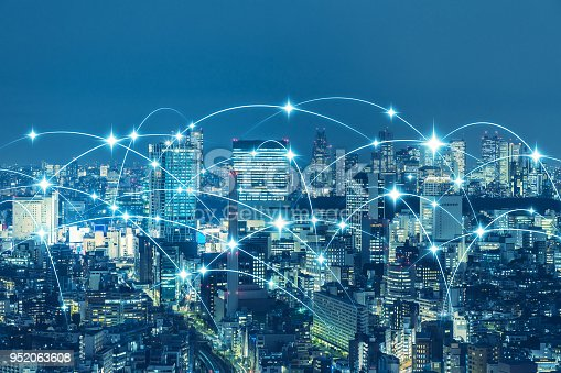 1013969318 istock photo Communication network of urban city. Smart city. Internet of Things. IoT. 952063608