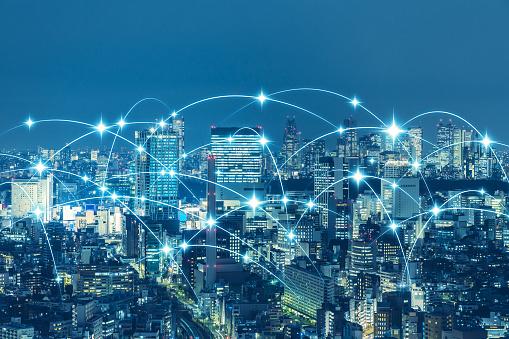1013969318 istock photo Communication network of urban city. Smart city. Internet of Things. IoT. 952063608