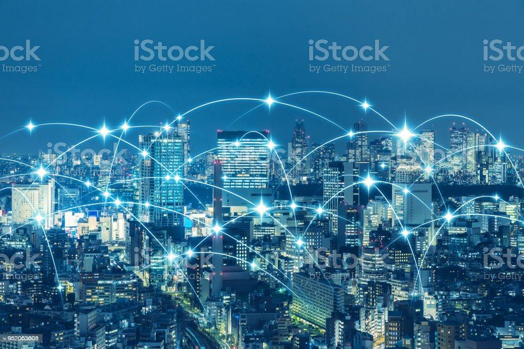Communication network of urban city. Smart city. Internet of Things. IoT. stock photo