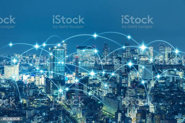 Communication Network Of Urban City Smart City Internet Of Things Iot Stock Photo - Download Image Now