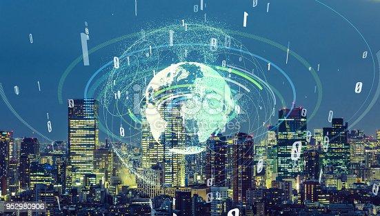 1013969318istockphoto Communication network of urban city. Smart city. Internet of Things. IoT. 952980906
