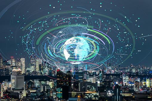 1013969318 istock photo Communication network of urban city. Smart city. Internet of Things. IoT. 952980912