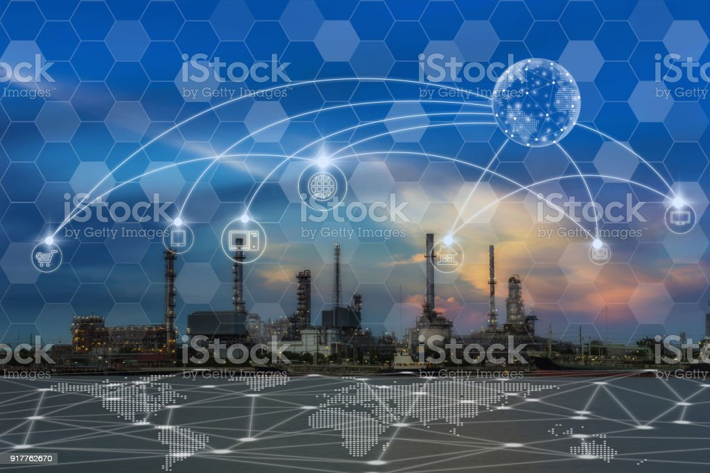 Communication network with multichannel omni channel of Oil and gas refinery at twilight - Petrochemical factory, Technology Smart City with Internet of Things concept stock photo