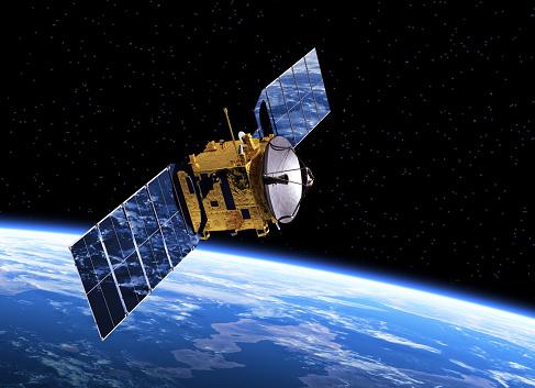 Communication Satellite Orbiting Earth. 3D Scene.