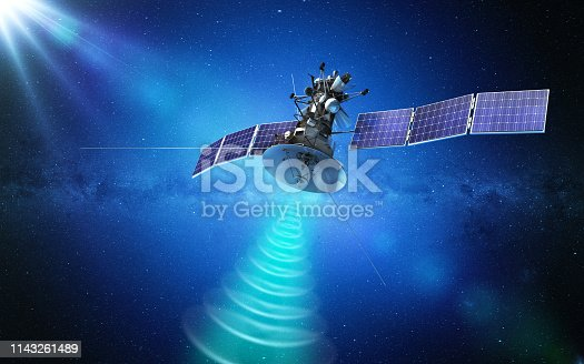 istock Communication satellite transmitting a signal in space. 3d rendering 1143261489