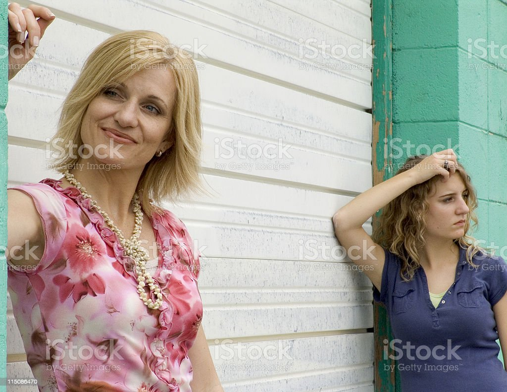 communication scenes - middle aged woman mother and girl teen royalty-free stock photo