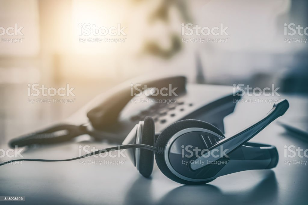 Communication support, call center and customer service help desk. stock photo