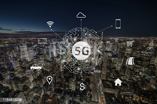 istock 5G Communication Technology of Manhattan, NYC 1154813036