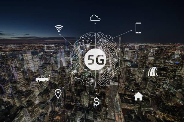 5G Communication Technology of Manhattan, NYC stock photo