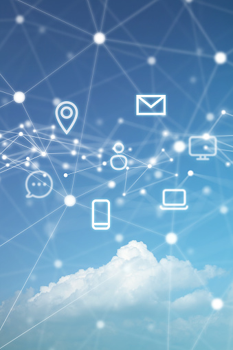 Communication Technology Symbols with Network Polygon Graphic on Cloudscape Background.