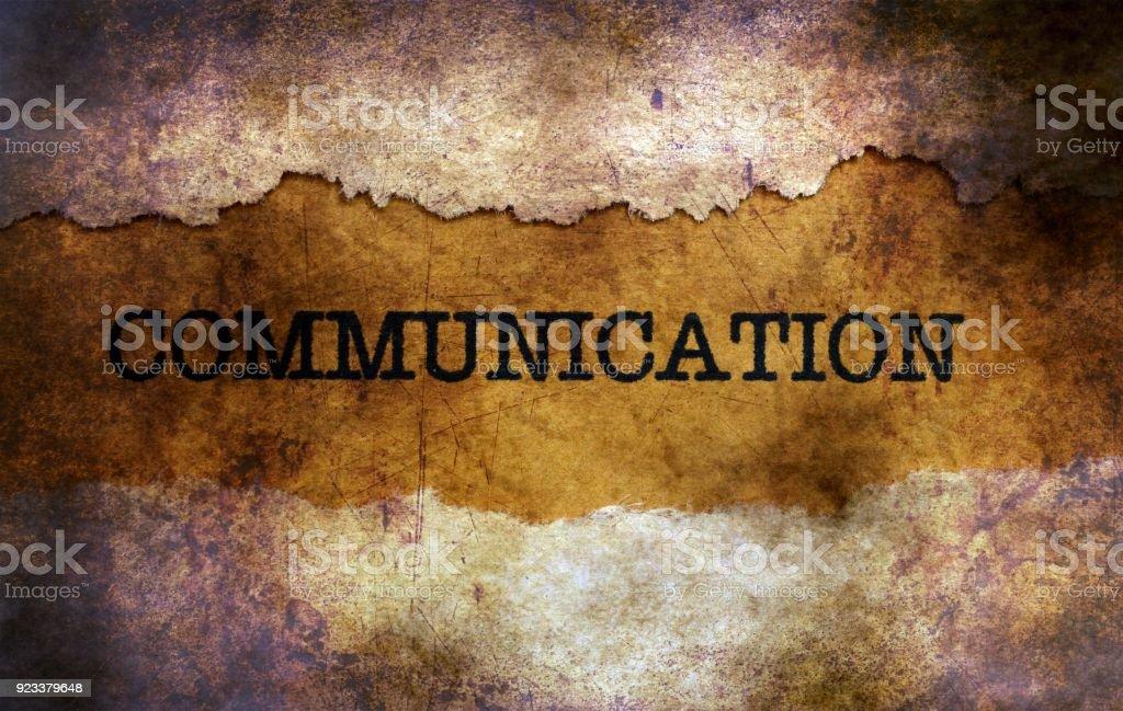 Communication text on grunge background stock photo