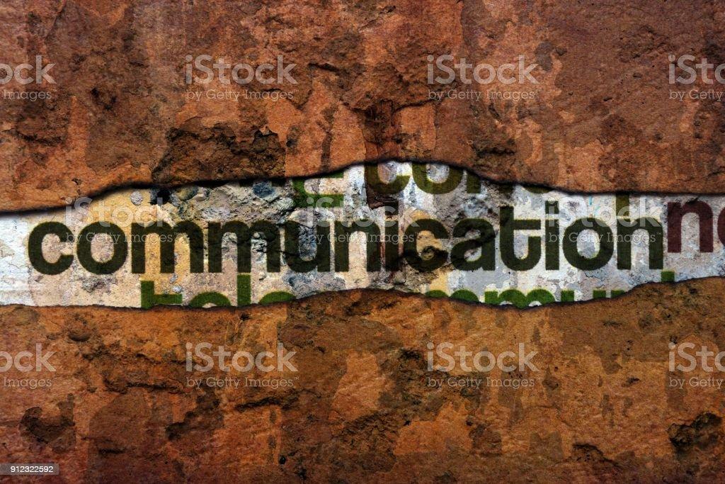 Communication text on wall stock photo