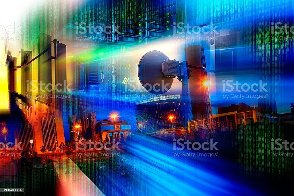 Communication tower at night. stock photo