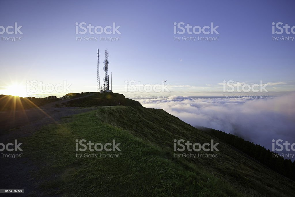 Communication Tower at Sunrise stock photo