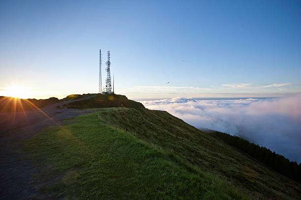 Communication Tower at Sunrise stock photo
