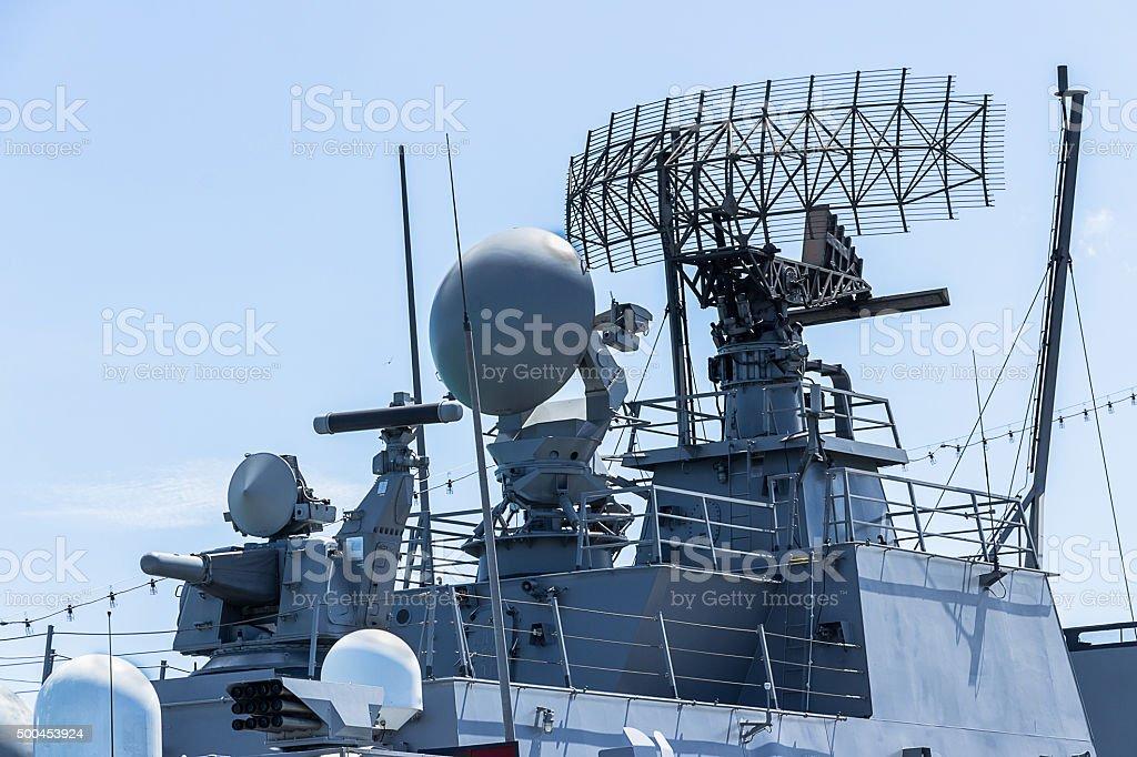 communication tower on the battleship stock photo