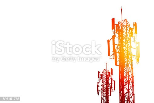 istock communication tower or 3G 4G network telephone cellsite isolated on white with color effect. 826151736