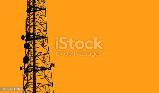 The middle section of a communication tower with an orange background.