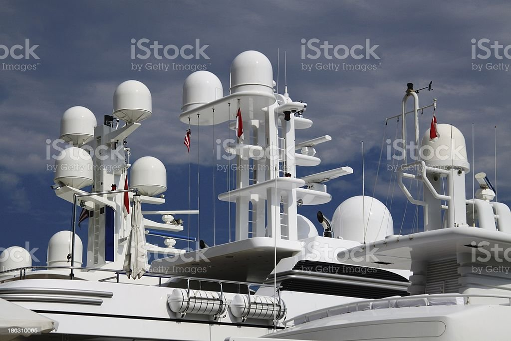 Communication, Weather and Navigation domes on yachts in Monaco stock photo
