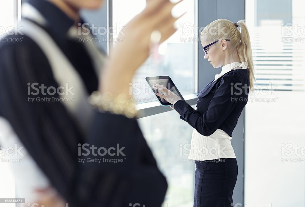 communication with the Tablet PC stock photo
