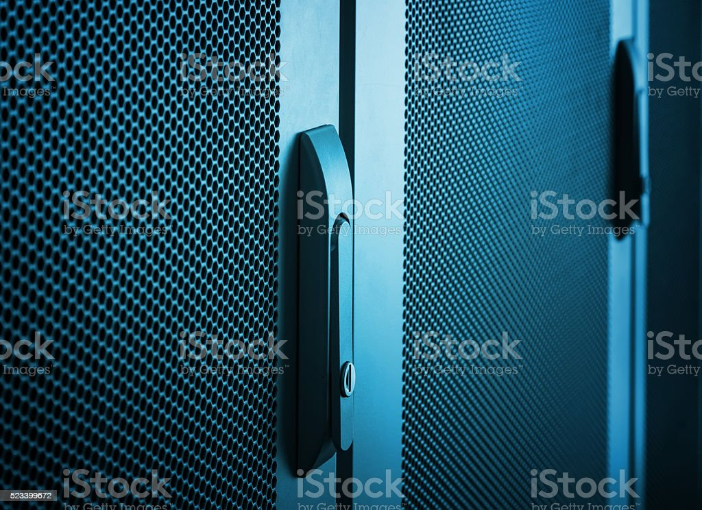 communications equipment close up door handle stock photo