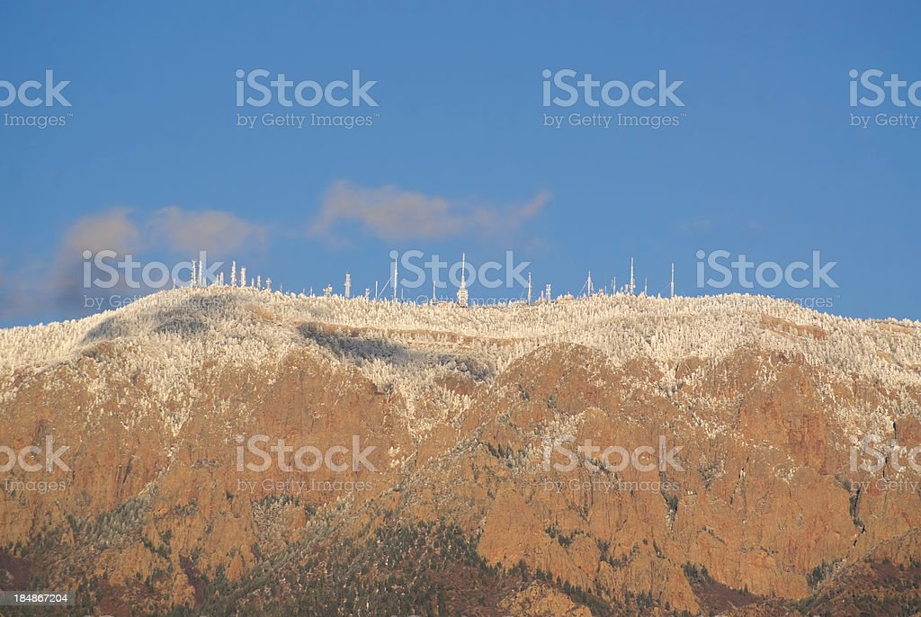 communications mountain landscape winter stock photo