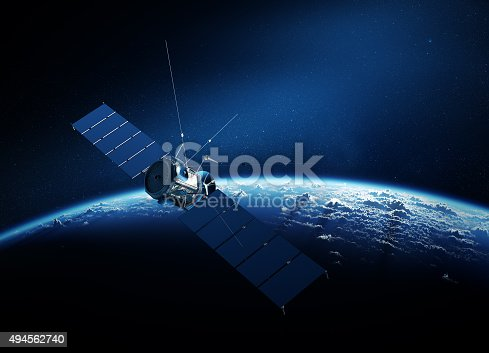 istock Communications satellite orbiting earth 494562740