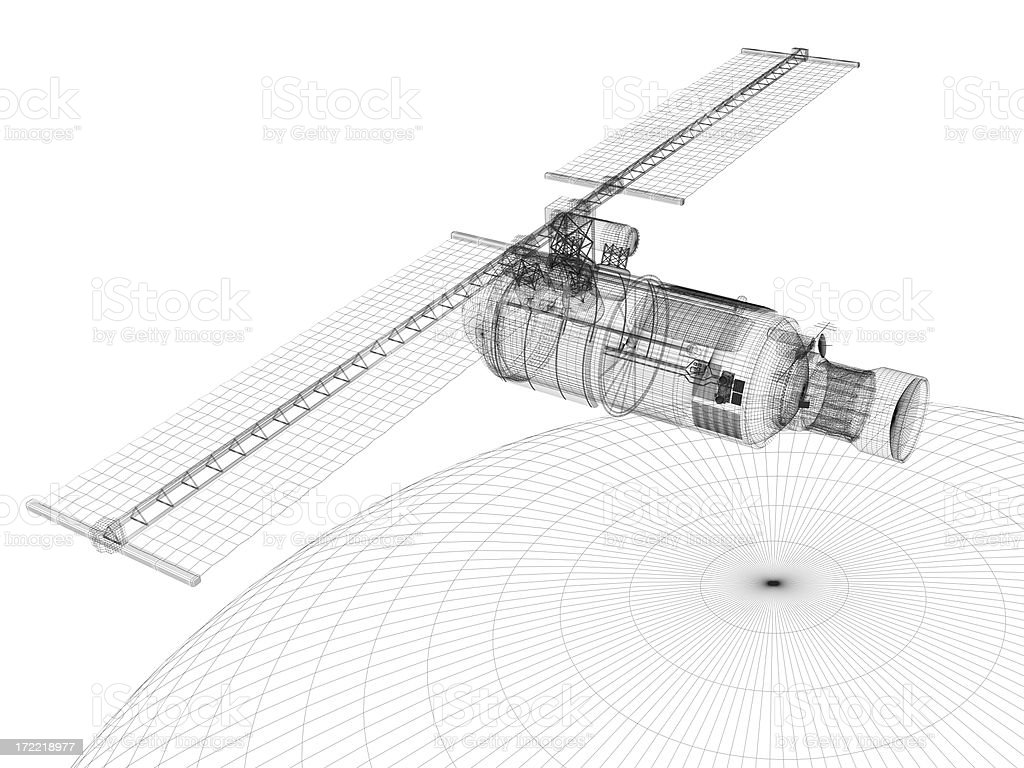 Communications Satellite (technical drawing)) stock photo
