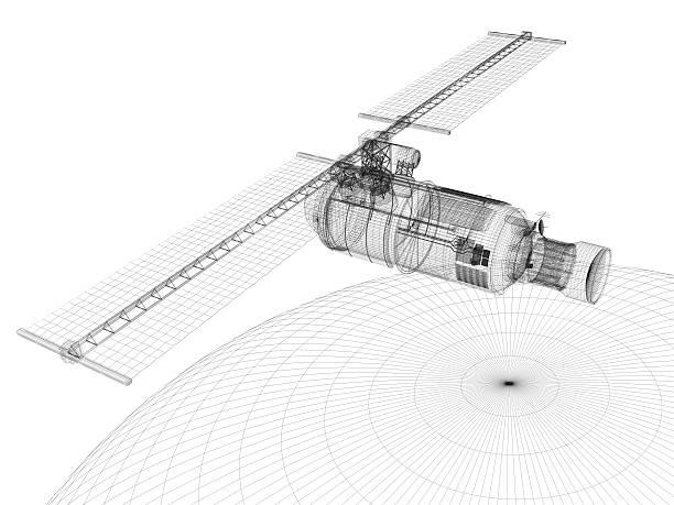 comunicações por satélite (desenho técnico - wireframe solar power imagens e fotografias de stock