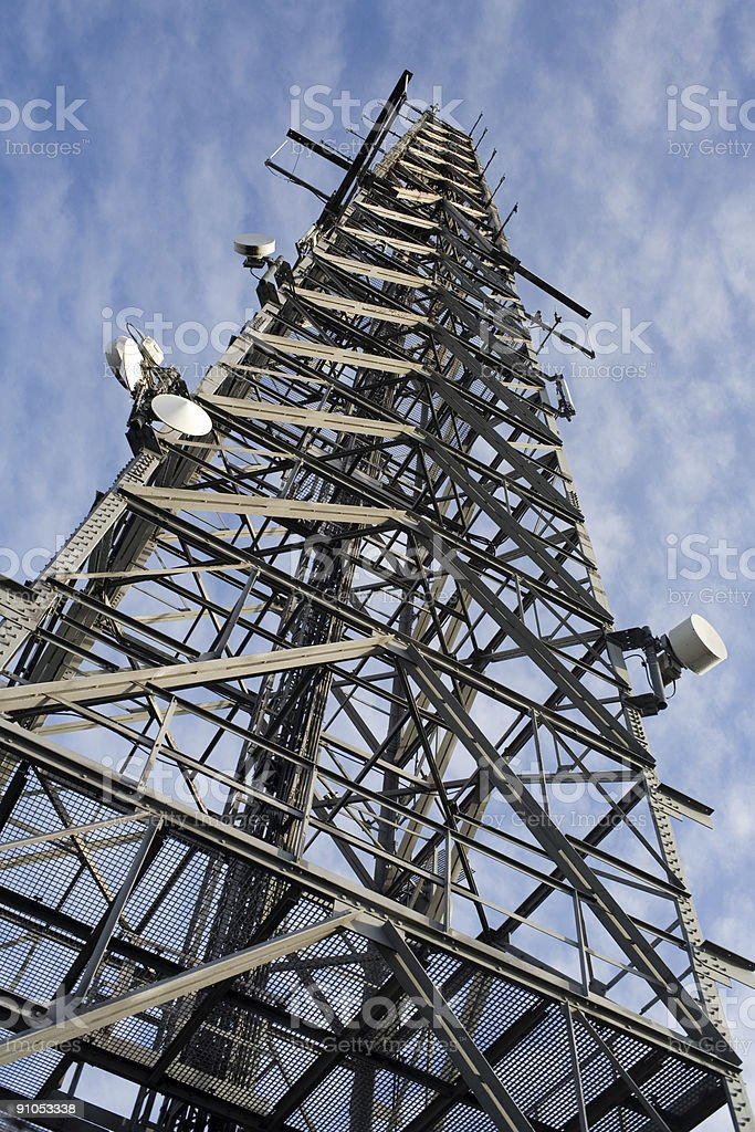 communications tower - tv radio & cell antenna stock photo
