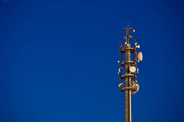 Communications Tower With Startrails stock photo