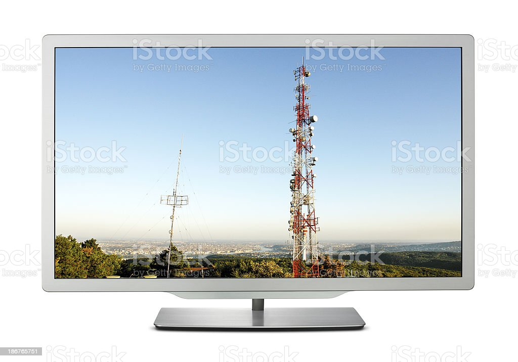 Communicaton Tower on TV Screen +Two Clipping Paths royalty-free stock photo