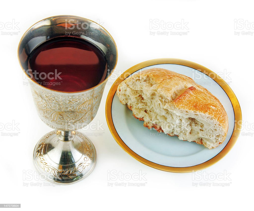 Communion Bread and Wine on White Background stock photo