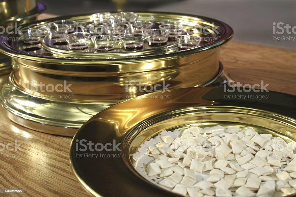 Communion Bread and Wine stock photo