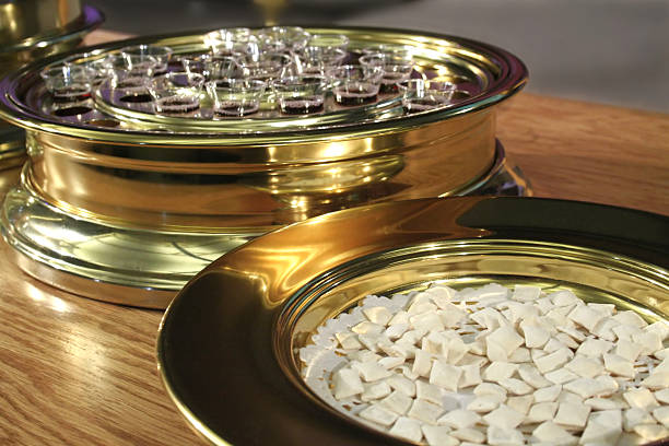 communion bread and wine - communion stock photos and pictures