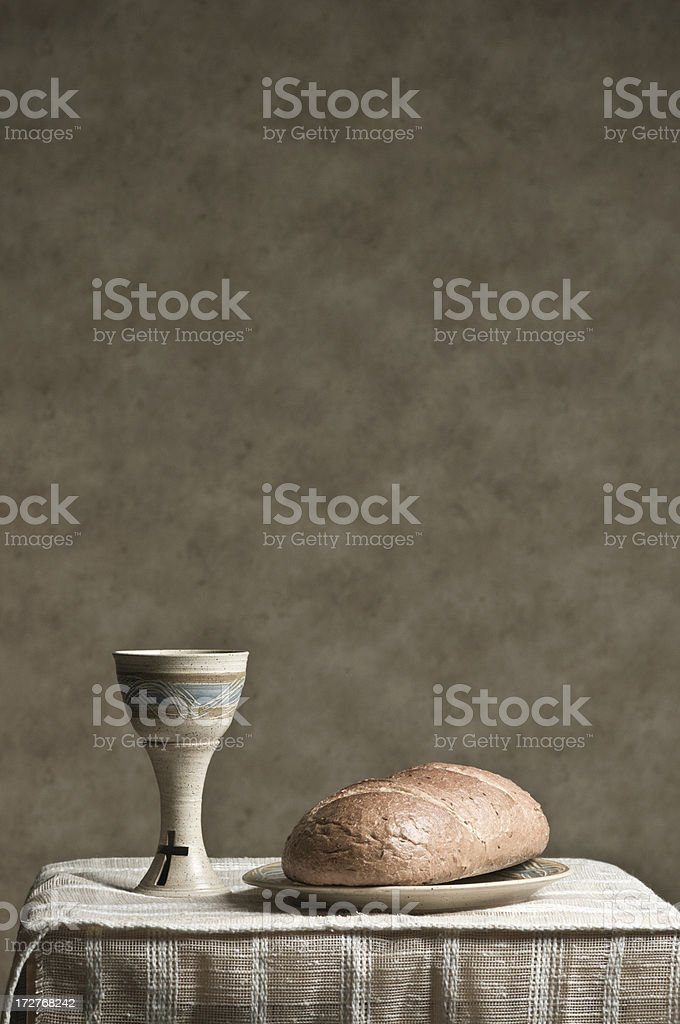 Communion, Bread and Wine stock photo