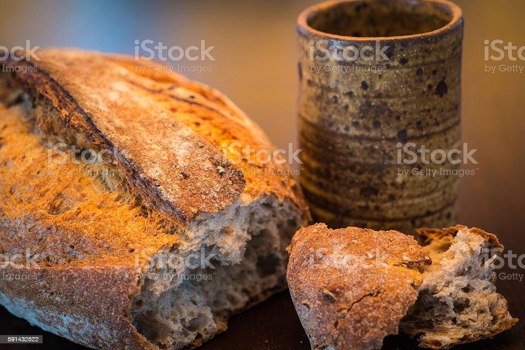 Communion bread wine stock photo
