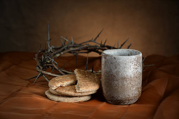 Communion Cup and Bread stock photo