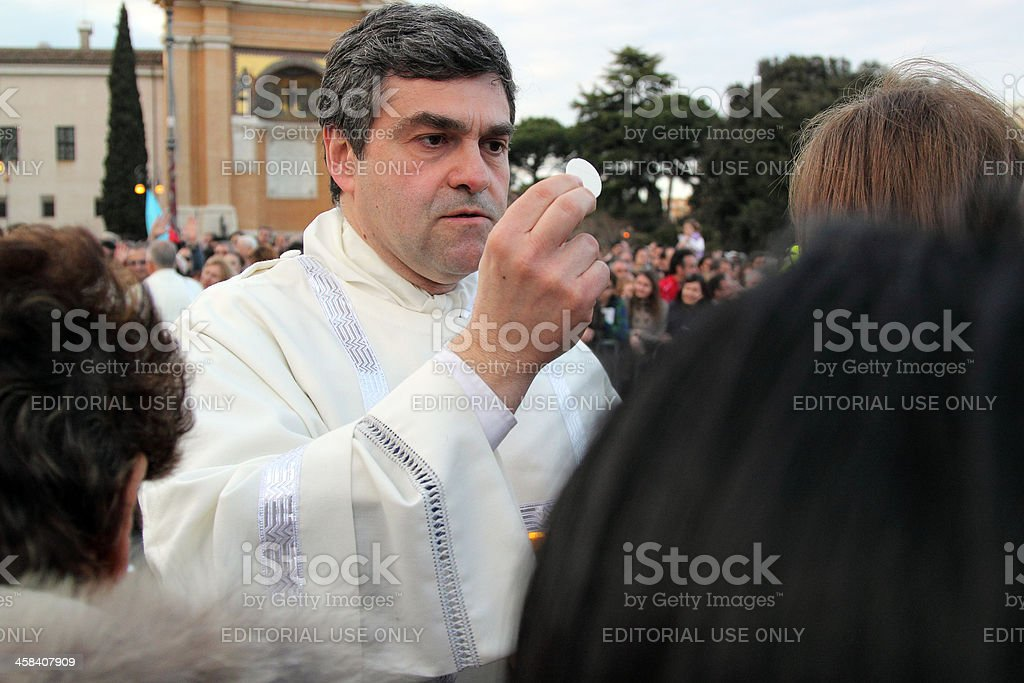 Communion during the settlement of Pope Francis, St John, Rome stock photo