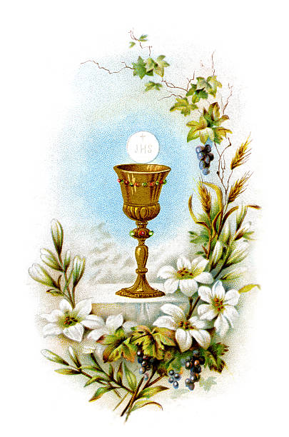 communion lithography - religious celebration stock photos and pictures