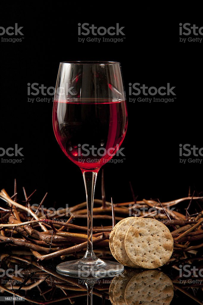 Communion Wine, Crackers, and Crown of Thorns royalty-free stock photo