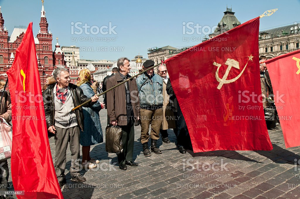 Communist Flags in Red Square stock photo