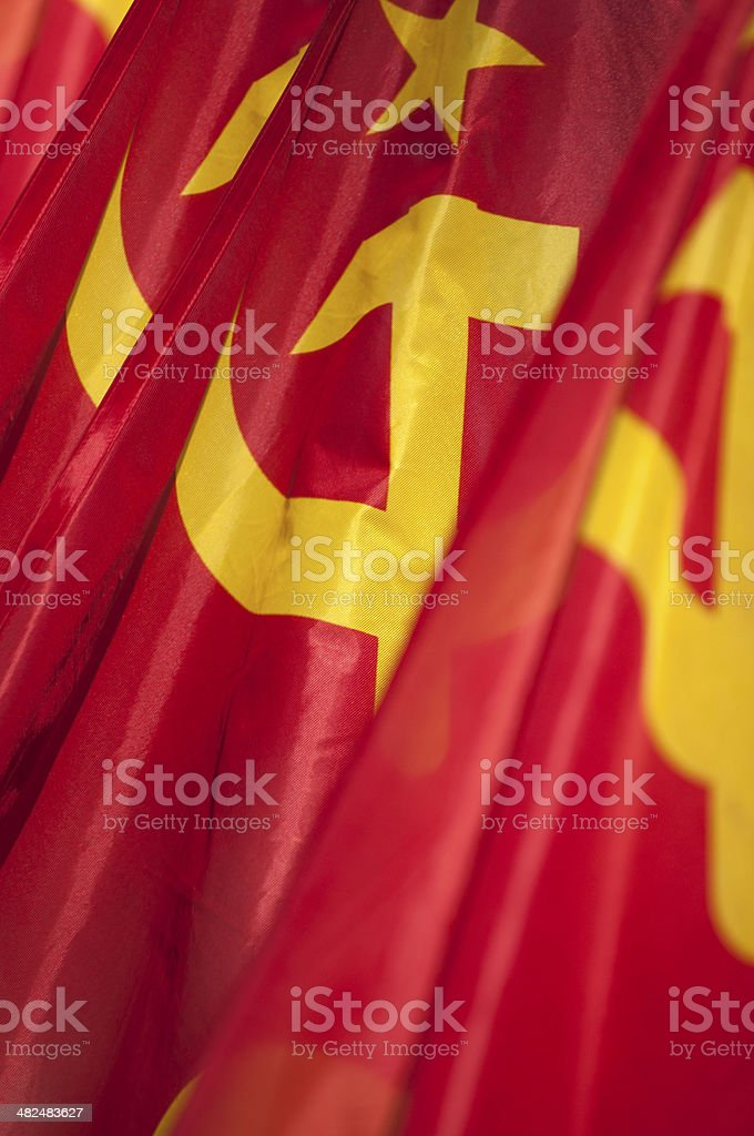 Communist flags stock photo