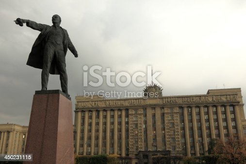 Lenin Statue in front of House of Soviets, Moscow Square. Saint Petersburg, Russia.