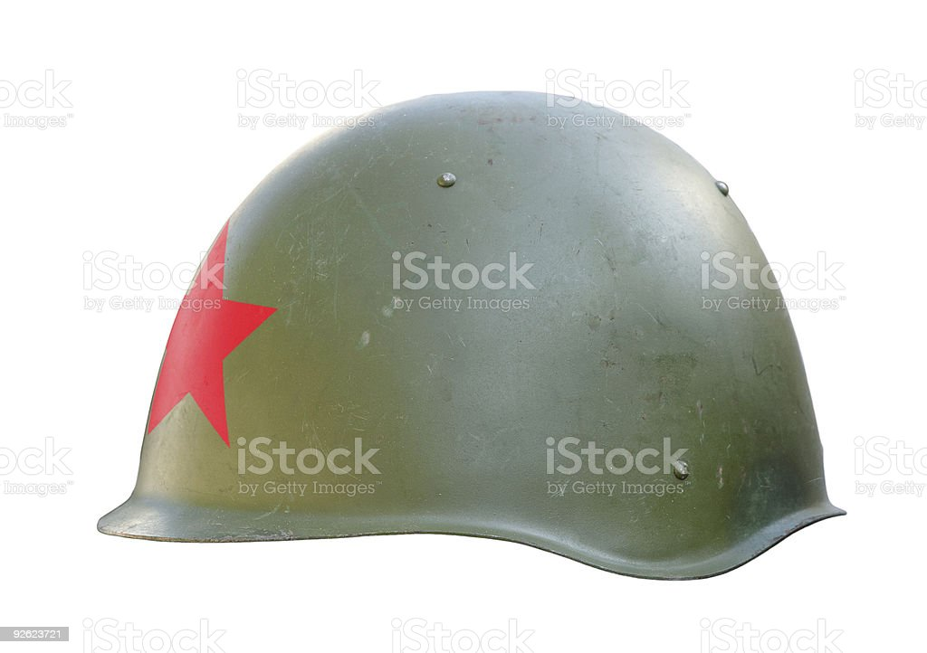 Communist military helmet with red star royalty-free stock photo