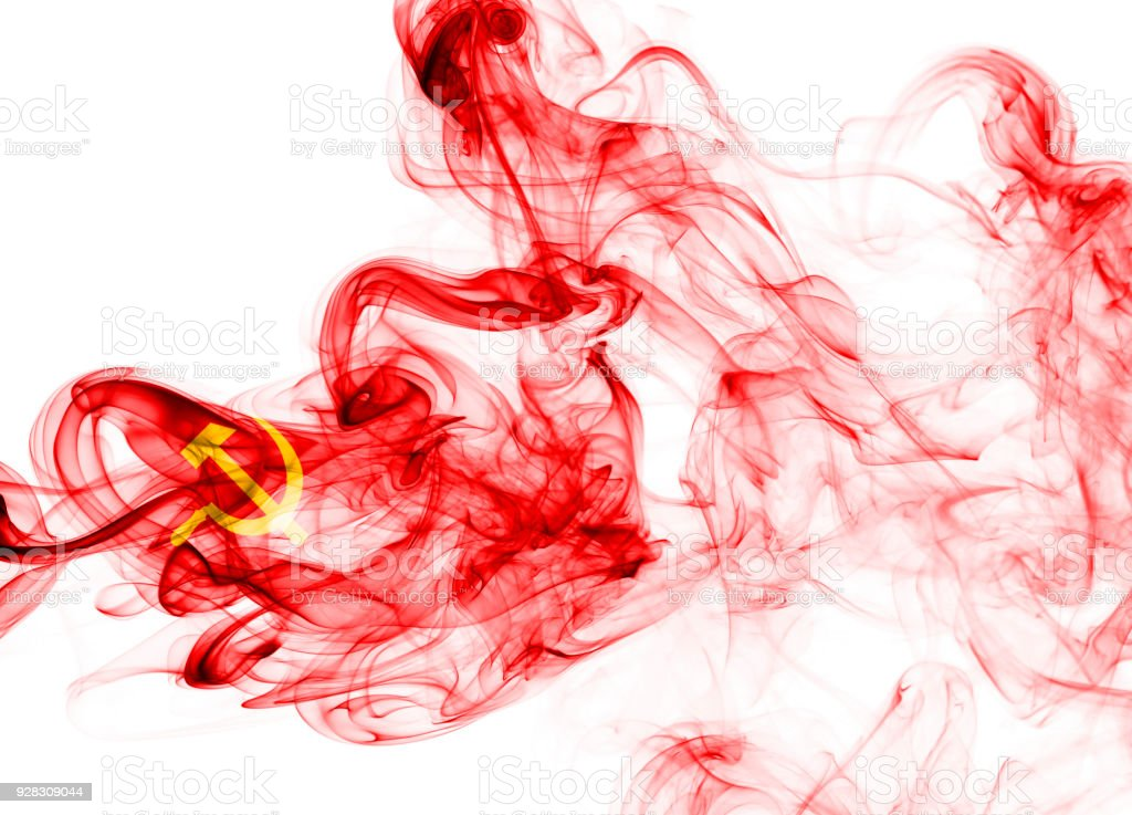 Communist national smoke flag stock photo