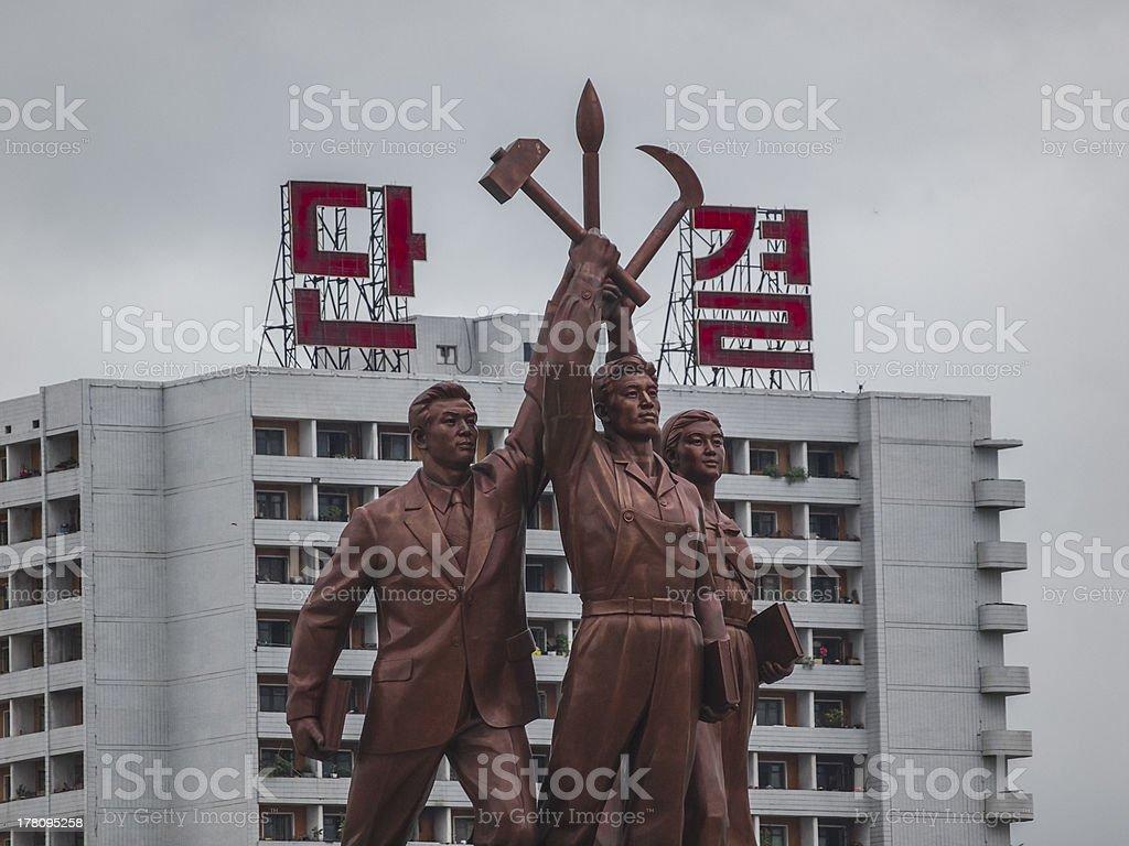 Communist statue in North Koreas capital Pyongyang stock photo